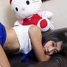 Teenage style setting on casting couch with Ladyboy Ood